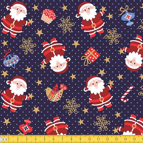 Tecido Tricoline Natal Papai Noel e Poás - Azul - 100% Algodão - Largura 1,50m