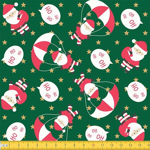 Tecido Tricoline Natal Papai Noel Paraquedista - Verde - 100% Algodão - Largura: 1,50m