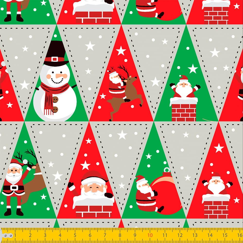 Tecido Tricoline Natal - Patch Natal - Cinza - 100% Algodão - Largura: 1,50m