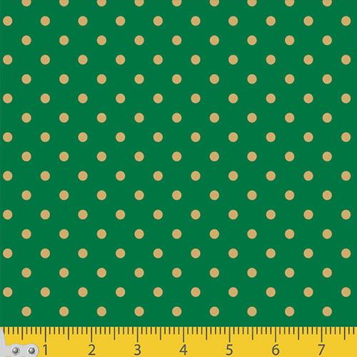 Tecido Tricoline Natal Poá Fundo Verde c/ Dourado - 100% Algodão - Largura 1,50m