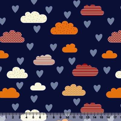 Tecido Tricoline Nuvens e Corações - Azul Marinho - 100% Algodão - Largura 1,50m