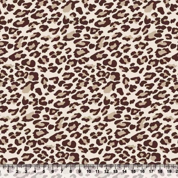 Tecido Tricoline Onça Print - Bege - 100% Algodão - Largura: 1,50m