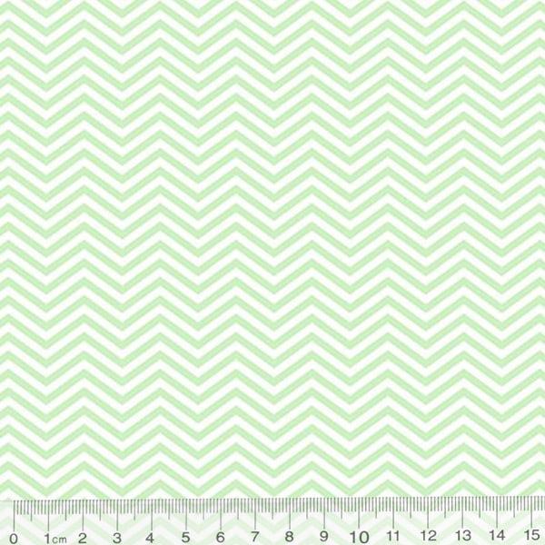 Tecido Tricoline Pan Mini Chevron Slim - Verde Claro - 100% Algodão - Largura 1,50m