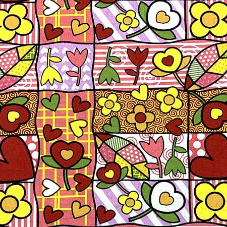 Tecido Tricoline Patchwork Romero - Vermelho e Amarelo - 100% Algodão - Largura 1,50m