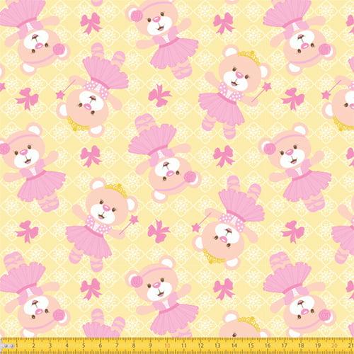 Tecido Tricoline Pequena Ursinha Encantada - Amarelo - 100% Algodão - Largura: 1,50m