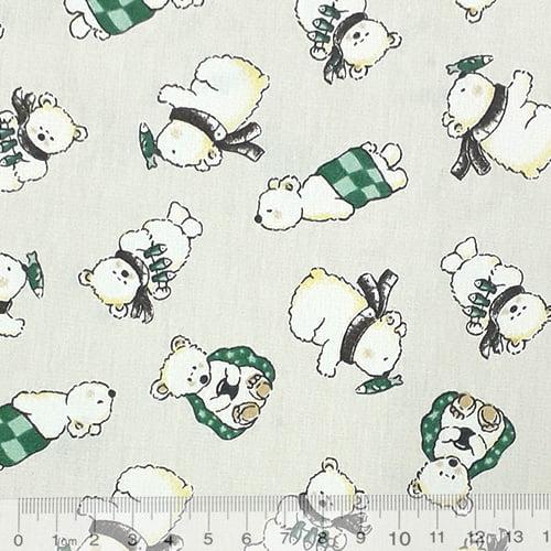Tecido Tricoline Pequenos Ursos Polares - Fundo Cinza - 100% Algodão - Largura 1,50m