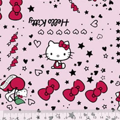 Tecido Tricoline Personagens F. Maluhy - Hello Kitty Lacinhos Rosa - 100% Algodão - Largura 1,50m