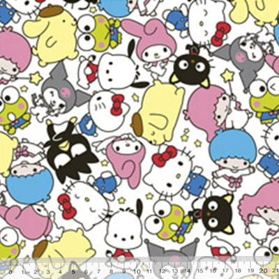 Tecido Tricoline Personagens F. Maluhy - Hello Kitty e Sua Turma - 100% Algodão - Largura 1,50m