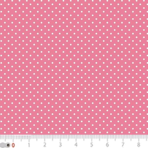 Tecido Tricoline Poá Micro - Fundo Rosa Claro c/ Branco - 100% Algodão - Largura 1,50m
