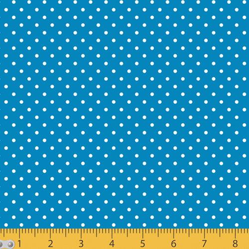 Tecido Tricoline Poá P - Fundo Azul Anil c/ Branco - 100% Algodão - Largura 1,50m