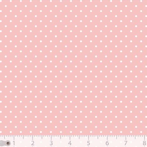 Tecido Tricoline Poá P - Fundo Rosa Claro c/ Branco - 100% Algodão - Largura 1,50m