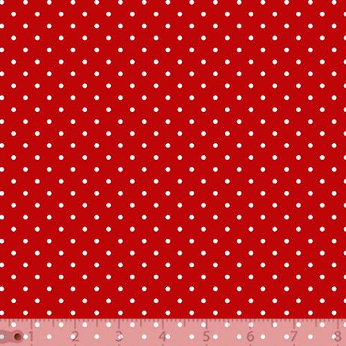 Tecido Tricoline Poá P - Fundo Vermelho c/ Branco - 100% Algodão - Largura 1,50m