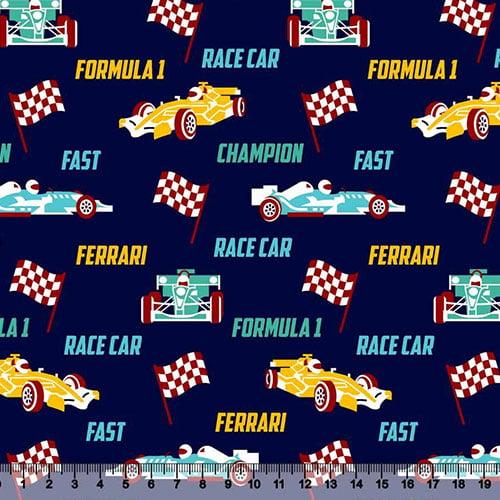 Tecido Tricoline Race Formula 1 - Azul Marinho - 100% Algodão - Largura 1,50m