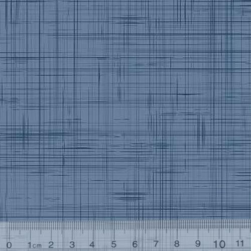 Tecido Tricoline Riscadinho Rústico - Azul Antigo - 100% Algodão - Largura 1,50m