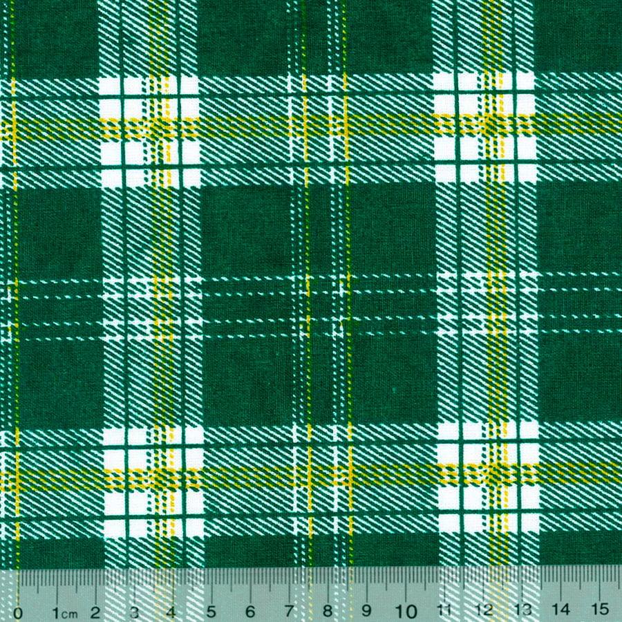 Tecido Tricoline SG Natal Cruzadinho - Verde - 100% Algodão - Largura 1,50m