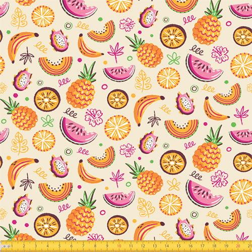 Tecido Tricoline Summer Fruits - Bege - 100% Algodão - Largura: 1,50m