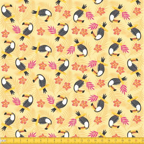 Tecido Tricoline Tucanos Bahamas - Amarelo - 100% Algodão - Largura: 1,50m