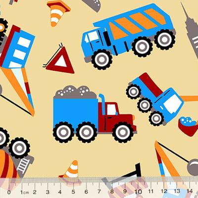 Tecido Tricoline Alg. Caminhões - Bege - 100% Algodão - Largura 1,45m