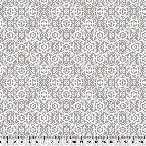 Tecido Tricoline Coleção Composê Ideal Cinza - Flores - 100% Algodão - Largura 1,50m