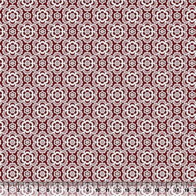 Tecido Tricoline Coleção Composê Ideal Vinho - Flores