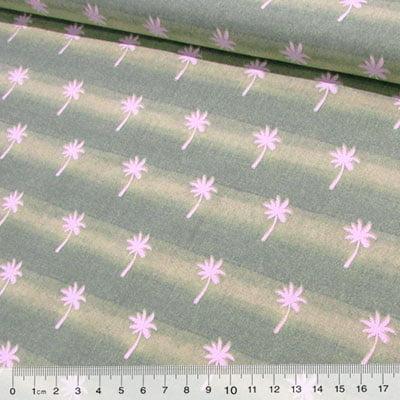 Tecido Tricoline Coqueiros - Verde Claro