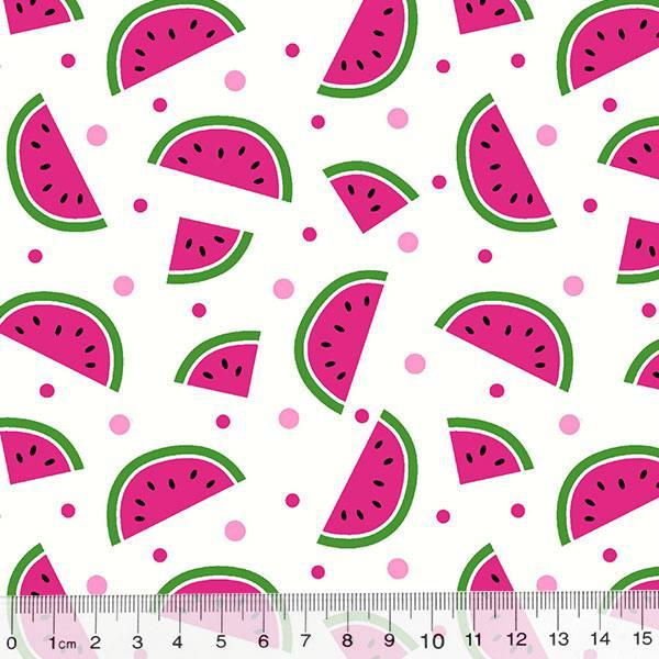 Tecido Tricoline Des. Frutas Melancias - Branco - 100% Algodão - Largura 1,50m