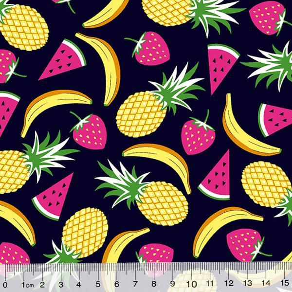 Tecido Tricoline Des. Frutas Mix - Azul Marinho - 100% Algodão - Largura 1,50m
