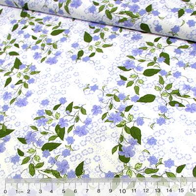 Tecido Tricoline Flor e Folhas - Azul