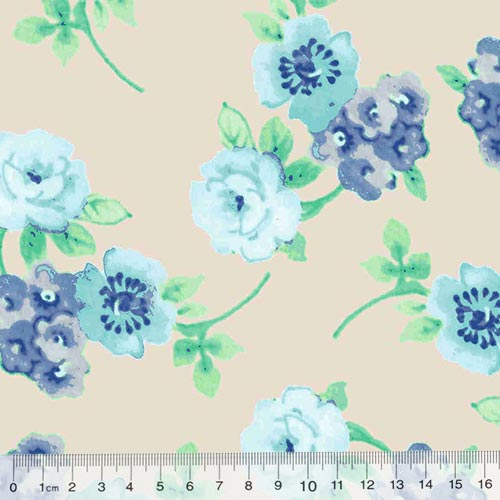 Tecido Tricoline Floral Primavera Génova - Bege
