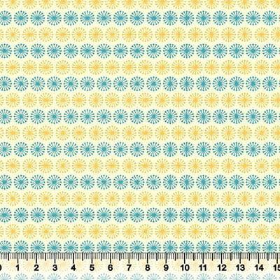 Tricoline Formas Circle - Azul Claro e Amarelo