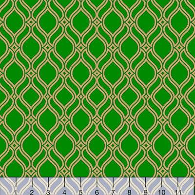 Tecido Tricoline Formas Grid - Verde c/ Dourado