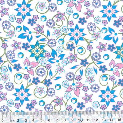 Tecido Tricoline Mista Floral Mazé - Azul - 90% Algodão 10% Poliéster - Largura 1,50m