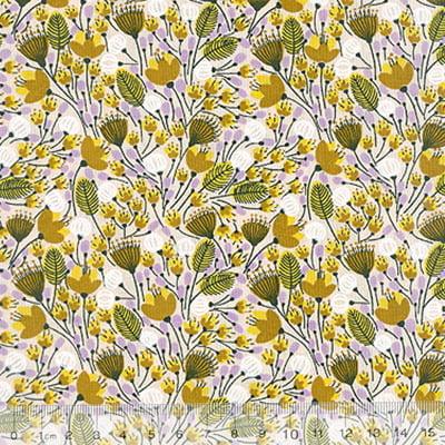 Tecido Tricoline Mista Floral Sochi - Amarelo - 90% Algodão 10% Poliéster - Largura 1,50m