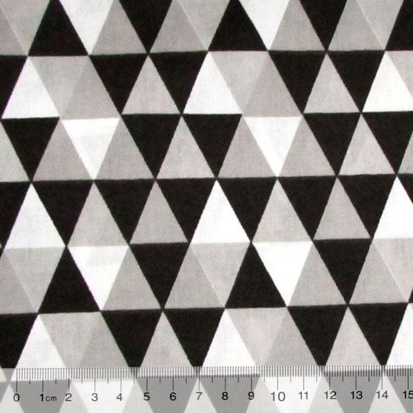 Tricoline Mista Geométricos - Preto - 90% Algodão 10% Poliéster - Largura 1,50m