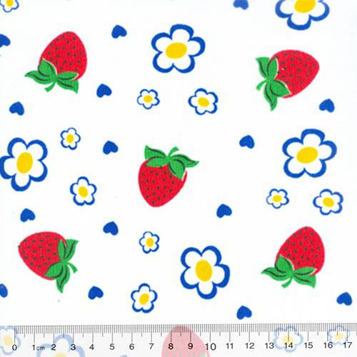 Tecido Tricoline Mista Morangos e Flores - Com Azul - 90% Algodão 10% Poliéster - Largura 1,50m