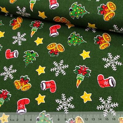 Tricoline Mista Natal Sininhos- Verde