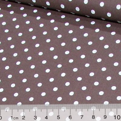Tecido Tricoline Mista Poá Vintage - Marrom c/ Branco - 90% Algodão 10% Poliéster - Largura 1,50m