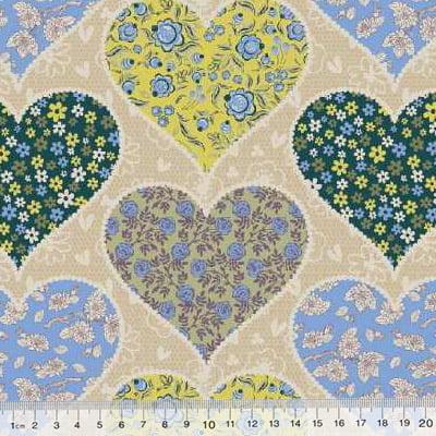Tecido Tricoline Mista Poli - Grandes Corações Floridos - Azul