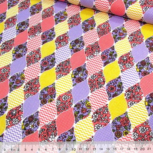 Tecido Tricoline Mista Pop Textoleen Balões Patch - Lilás - 50% Algodão 50% Poliéster - Largura 1,38m