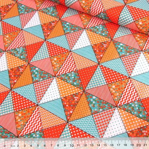 Tecido Tricoline Mista Pop Textoleen Bandeirinhas Patch - Laranja - 50% Algodão 50% Poliéster - Largura 1,38m