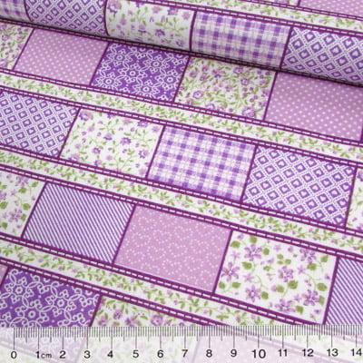 Tecido Tricoline Mista Pop Textoleen Faixas Patchwork Composê - Lilás - 50% Algodão 50% Poliéster - Largura 1,38m