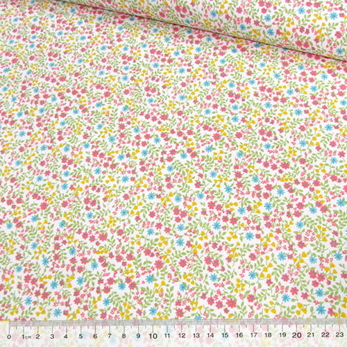Tecido Tricoline Mista Pop Textoleen Floral Jardim Colorido - Verde - 50% Algodão 50% Poliéster - Largura 1,38m
