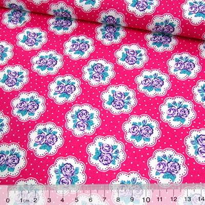 Tecido Tricoline Mista Pop Textoleen Floral Lindsay Poá - Rosa Pink - 50% Algodão 50% Poliéster - Largura 1,38m