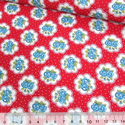 Tecido Tricoline Mista Pop Textoleen Floral Lindsay Poá - Vermelho - 50% Algodão 50% Poliéster - Largura 1,38m