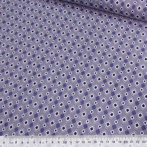 Tecido Tricoline Mista Pop Textoleen Losangos Formas - Azul - 50% Algodão 50% Poliéster - Largura 1,38m