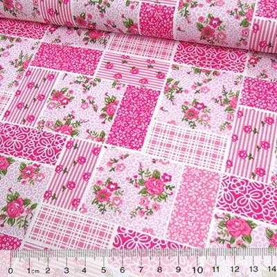 Tecido Tricoline Mista Pop Textoleen Patchwork Floral Clássico - Rosa - 50% Algodão 50% Poliéster - Largura 1,38m