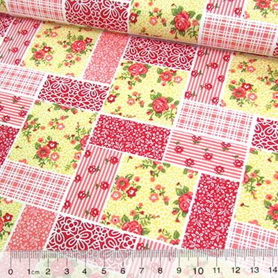 Tecido Tricoline Mista Pop Textoleen Patchwork Floral Clássico - Vermelho - 50% Algodão 50% Poliéster - Largura 1,38m