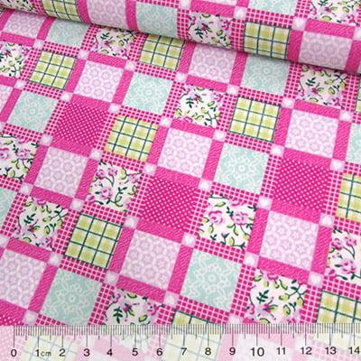 Tecido Tricoline Mista Pop Textoleen Patchwork Window - Rosa Pink - 50% Algodão 50% Poliéster - Largura 1,38m