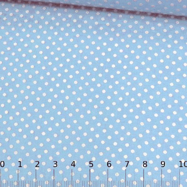 Tecido Tricoline Mista Pop Textoleen Poá M Fundo Azul Claro - 50% Algodão 50% Poliéster - Largura 1,38m