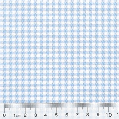 Tecido Tricoline Mista Pop Textoleen Xadrez Azul Claro - 50% Algodão 50% Poliéster - Largura 1,38m